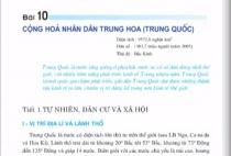Bài 10: Cộng hòa nhân dân Trung Hoa ( tự nhiên, dân cư và xã hội) - Địa lí 11 trang 86