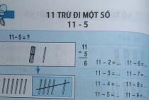 Giải bài 11 trừ đi một số: 11 - 5