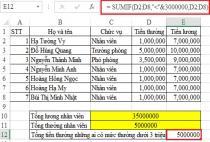 Sử dụng hàm SUMIF để tính tổng có chứa điều kiện trong Excel, ví dụ minh họa