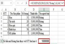 Sử dụng hàm SUMIFS để tính tổng phép toán chứa nhiều điều kiện, ví dụ minh họa
