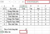 Cách sử dụng hàm COUNT- hàm đếm trên Excel, ví dụ minh họa