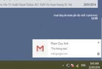 Hiển thị thông báo ra màn hình khi có thư đến trong gmail
