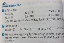 Giải  bài Luyện tập - sgk toán 5 trang 58