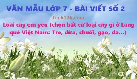 Văn mẫu 7 bài viết số 2 đề 1: Loài cây em yêu (chọn bất cứ loại cây gì ở Làng quê Việt Nam: Tre, dừa, chuối, gạo, đa...không viết lại cây sấu)