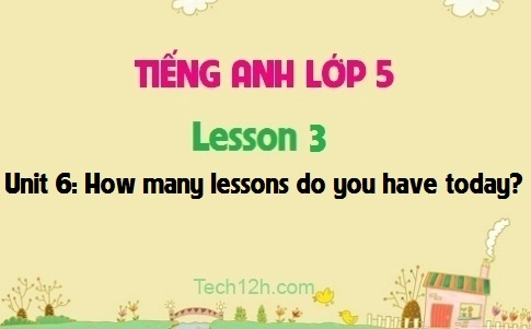 Unit 6: How many lessons do you have today? - Lesson 3