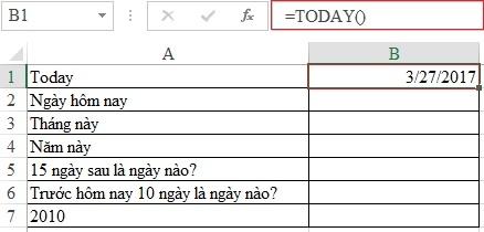 Xem ngày tháng năm hiện tại bằng hàm TODAY trong Excel