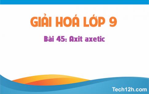 Giải bài 45: Axit axetic - SGK hóa học 9 trang 140