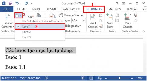 Hướng dẫn tạo mục lục tự động trong Microsoft Word