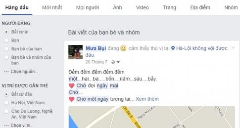 Cách tìm lại những status đã đăng của bạn bè, của mình trên Facebook