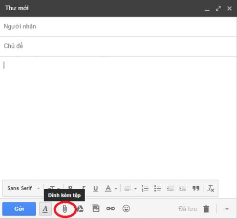 Cách đính kèm file vào nội dung thư trong gmail