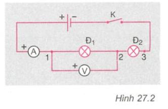 Bài 27 lý 7: Thực hành: Đo cường độ dòng điện và hiệu điện thế đối với đoạn mạch nối tiếp - sgk trang 76