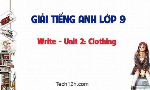 Write - Unit 2: Clothing